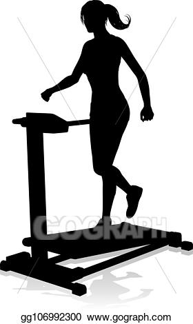 Vector illustration gym woman. Exercising clipart running machine