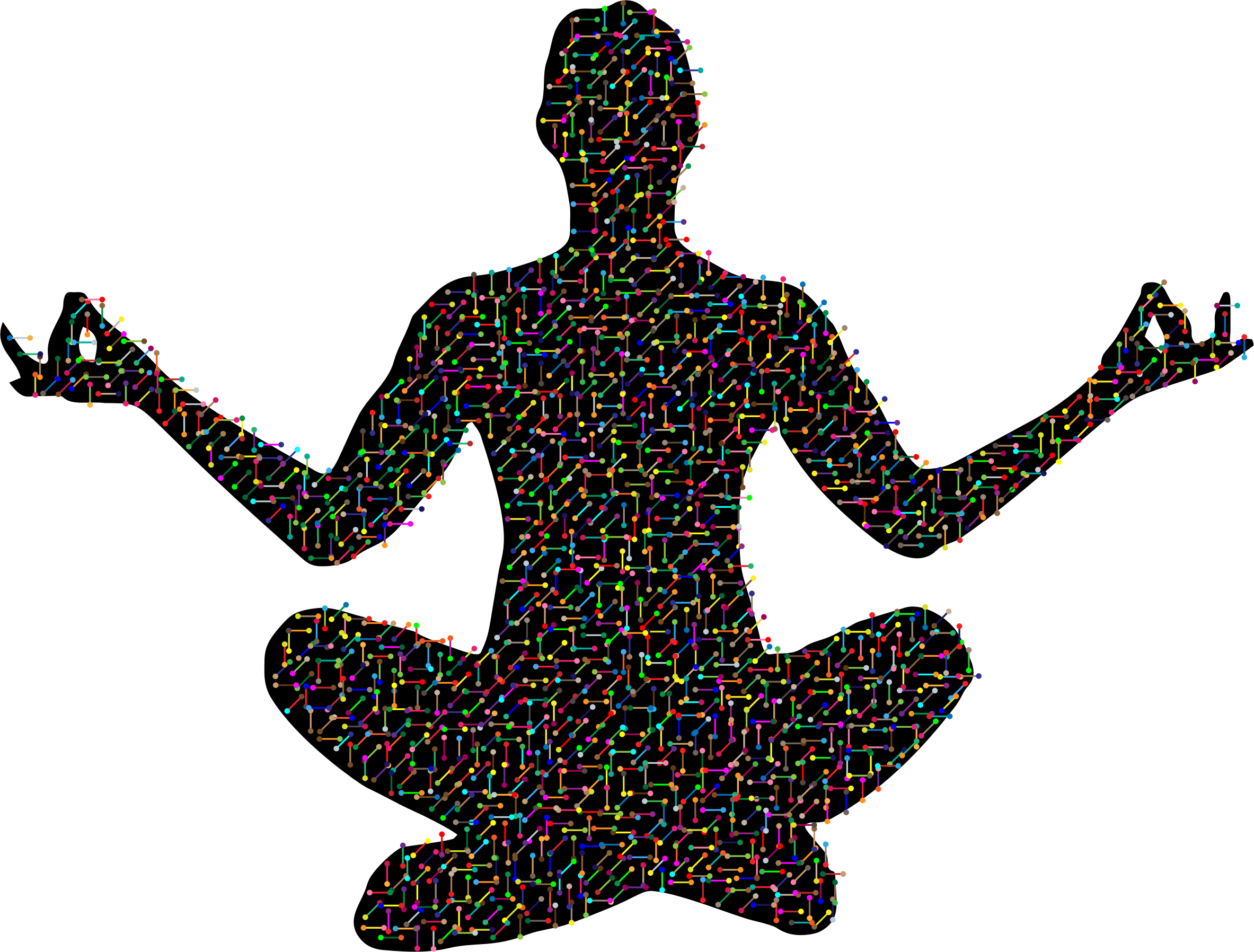 Prismatic molecular yoga pose. Exercising clipart silhouette