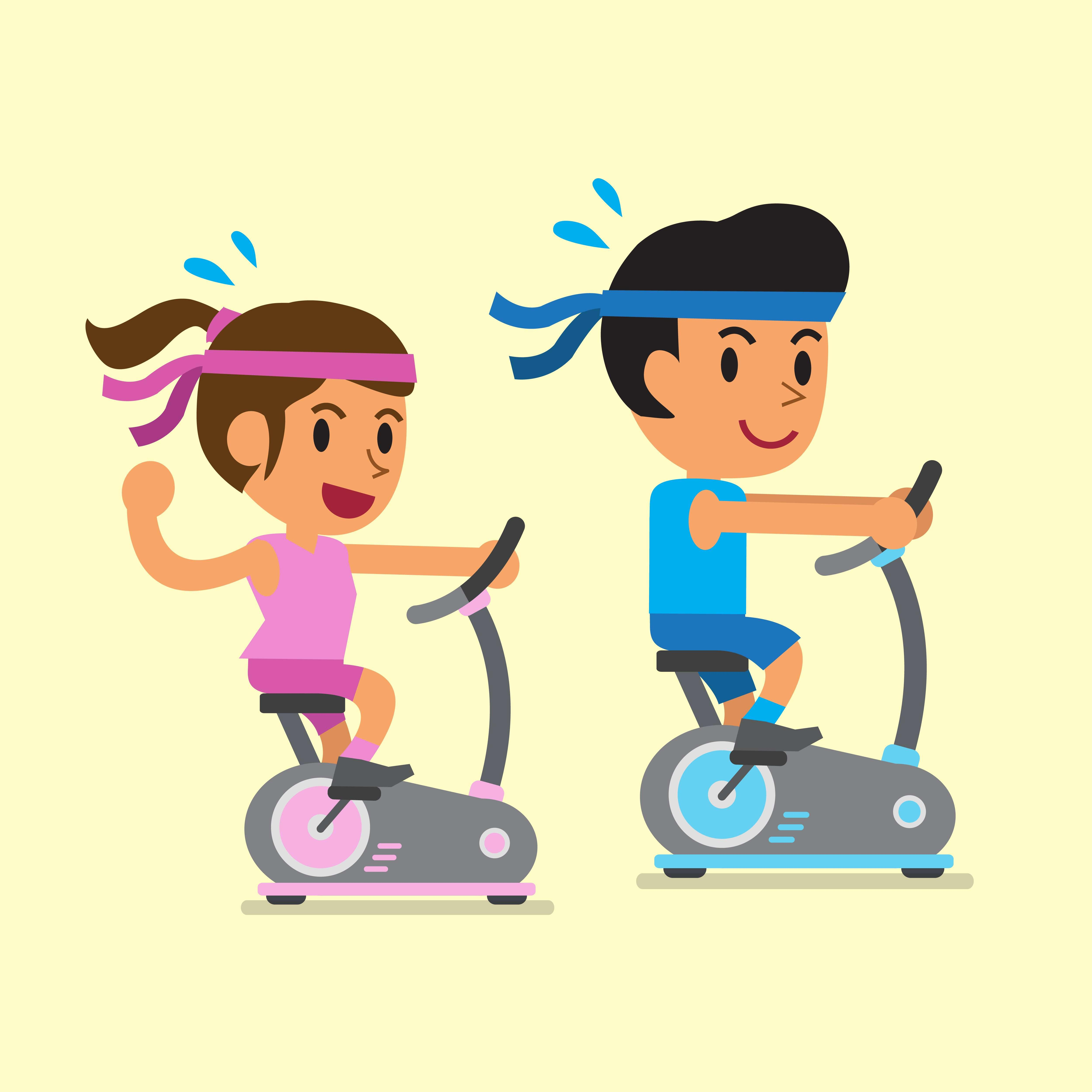 Recumbent vs spin which. Exercising clipart stationary bike