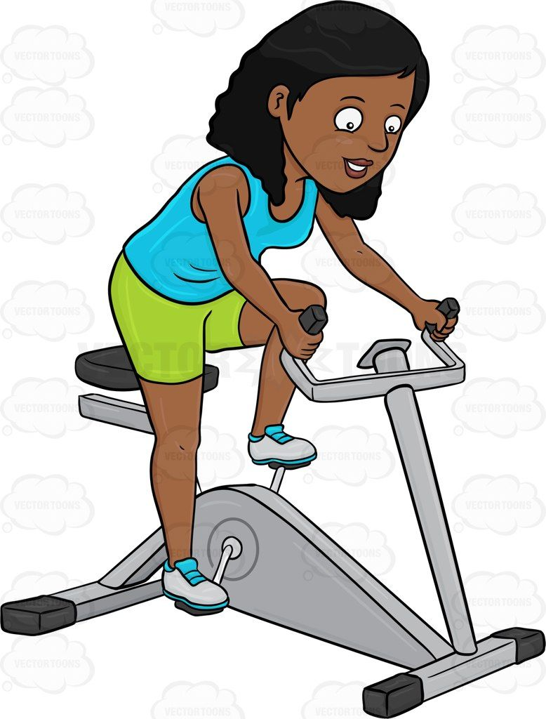 Exercising clipart stationary bike. A dark haired woman