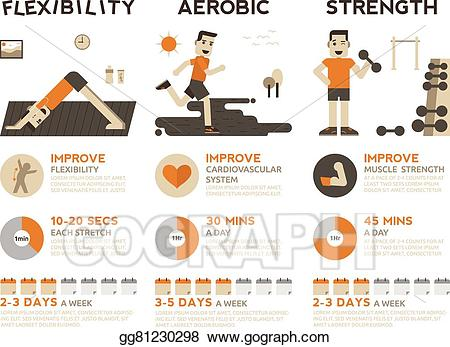 Vector stock exercise infographic. Exercising clipart strength