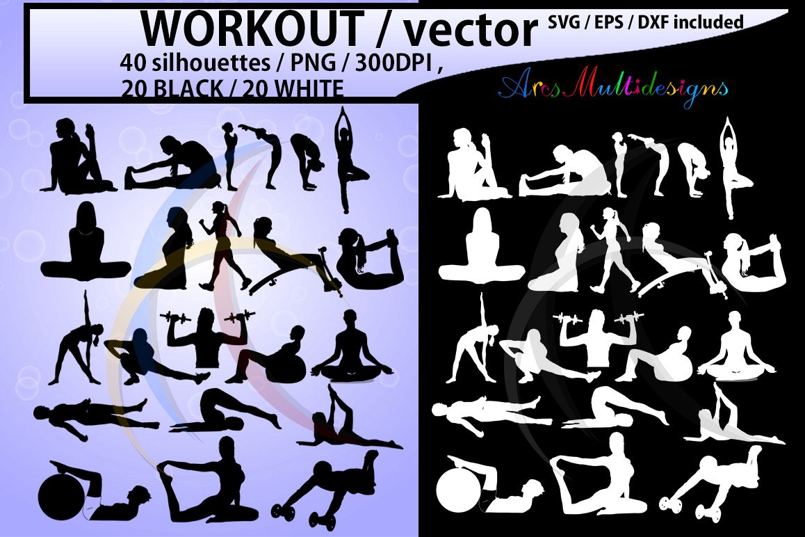 Workout svg silhouette file. Exercising clipart vector