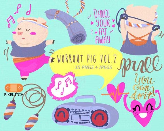 Workout clip art vol. Exercising clipart woman exercise