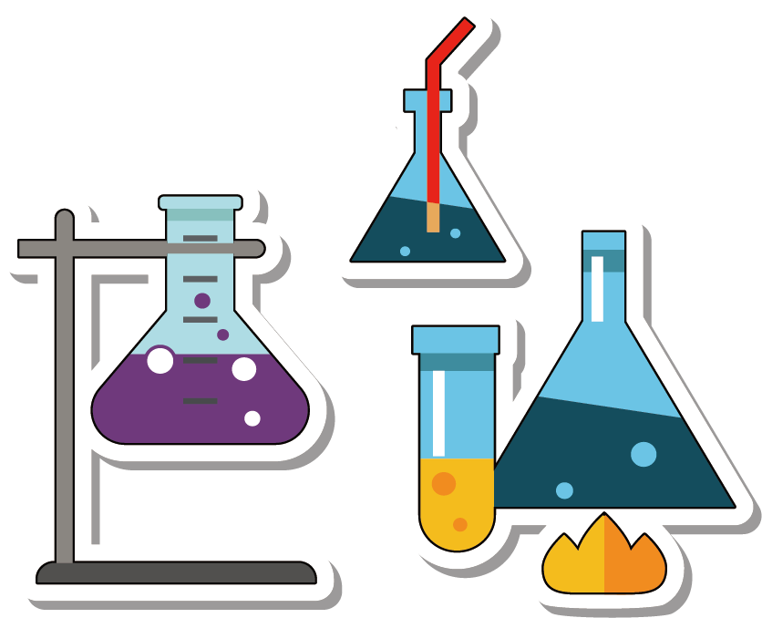 Experiment clipart chemical analysis. Chemistry erlenmeyer flask ribersolo