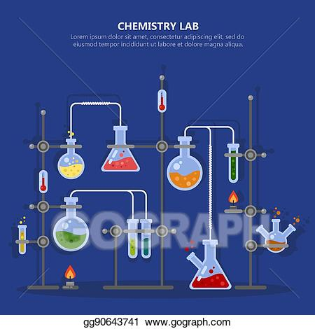 Experiment clipart chemical analysis. Vector illustration chemistry laboratory