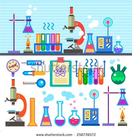 Chemical laboratory in flat. Lab clipart experiment tool