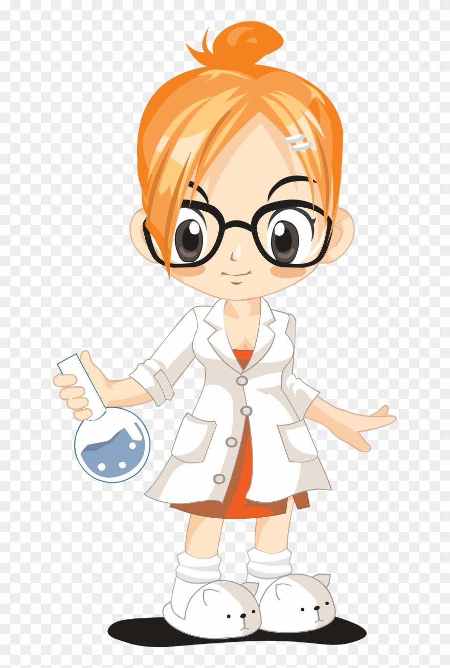 Laboratory science woman ciencia. Experiment clipart lady scientist