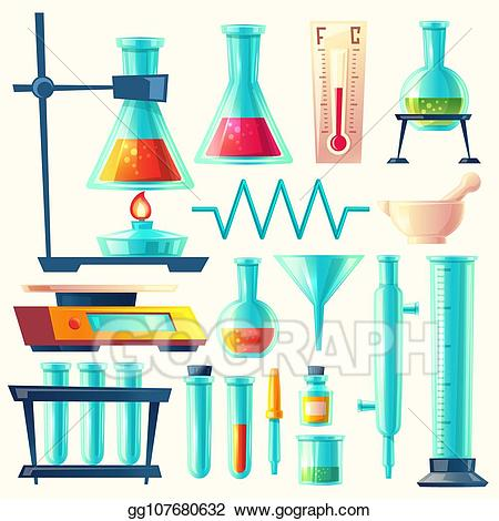 Drawing cartoon laboratory glassware. Experiment clipart science equipment