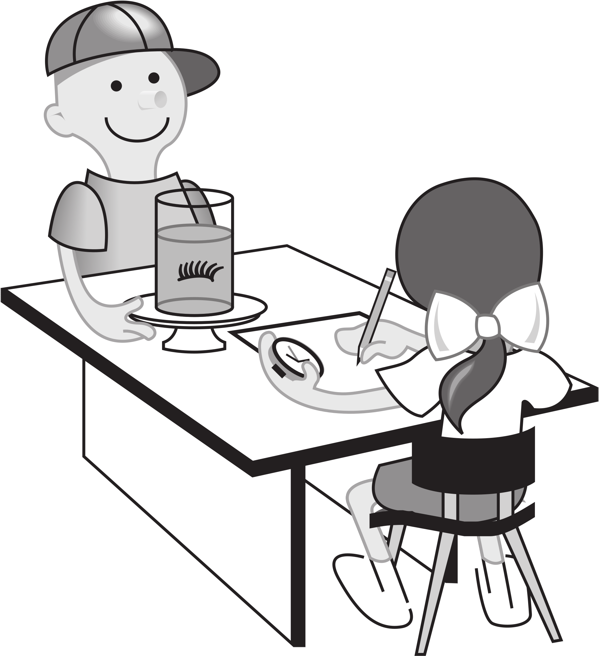 Kids at table doing. Experiment clipart student experiment