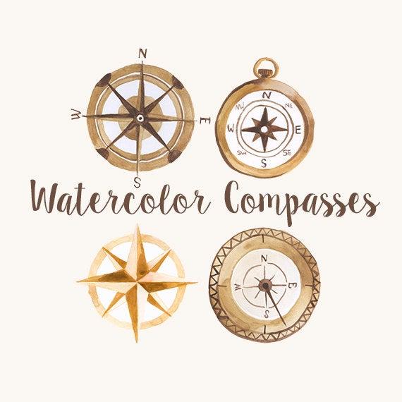 Watercolor compasses compass clip. Explorer clipart compassclip