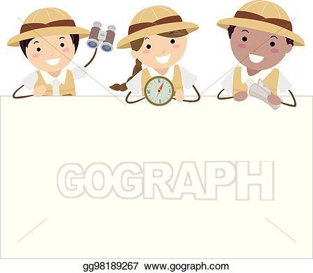 Eps vector stickman kids. Explorer clipart compus