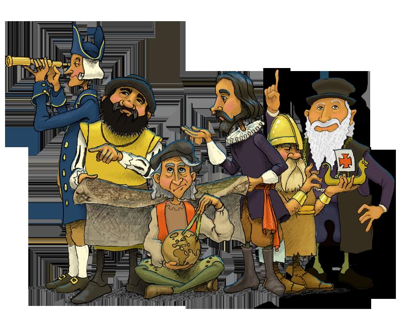 Explorers of the age. Explorer clipart exploration european