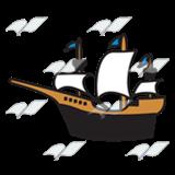Black with blue flags. Explorer clipart explorer ship
