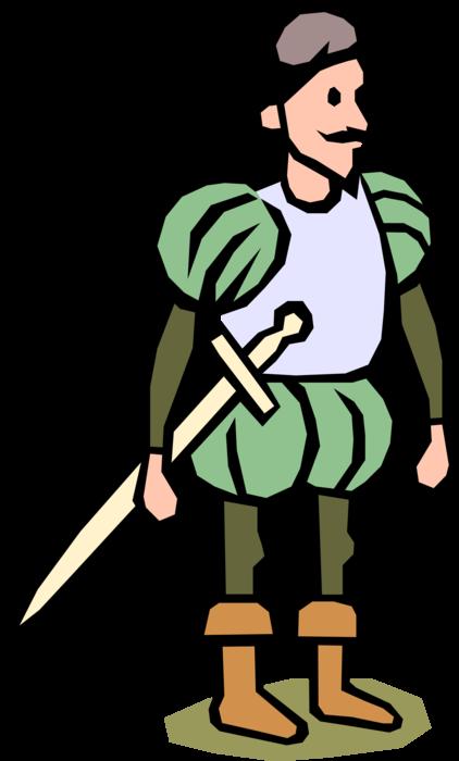 Explorer clipart explorer spanish. Conquistador with sword vector