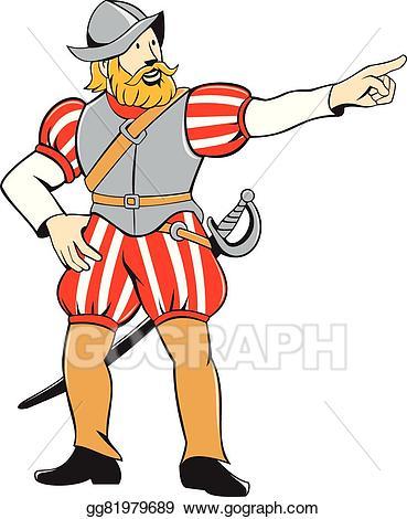 Vector illustration conquistador pointing. Explorer clipart explorer spanish