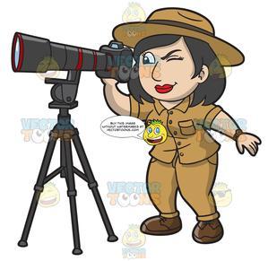 Explorer clipart female explorer. A taking wildlife photos
