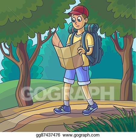 Explorer clipart forest walk. Vector stock hiking girl