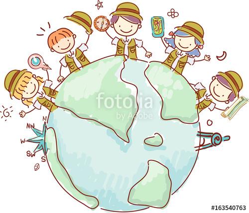 Explorer clipart kid explorer. Stickman kids earth illustration