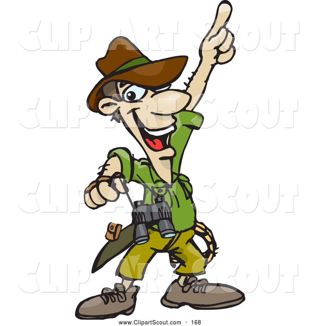 Of a smiling pointing. Explorer clipart male