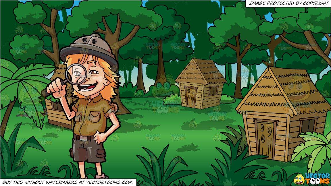 A young and grass. Explorer clipart man jungle