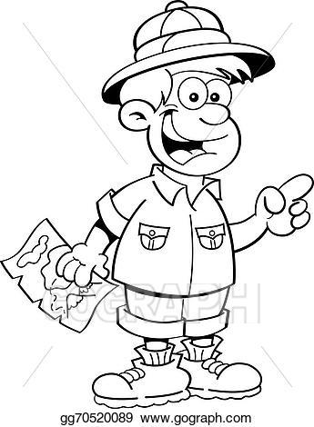 Vector art cartoon boy. Explorer clipart outline