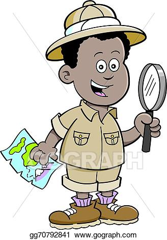 Vector stock cartoon african. Explorer clipart safari africa