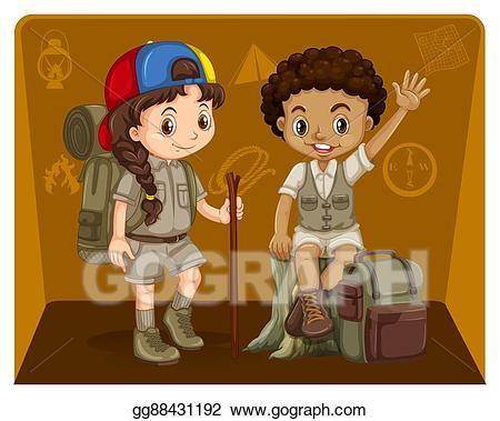 Vector boy and girl. Explorer clipart safari outfit