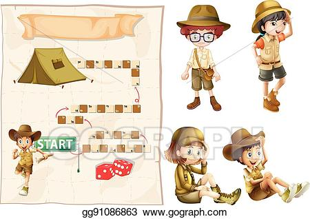 Explorer clipart safari outfit. Vector illustration game template
