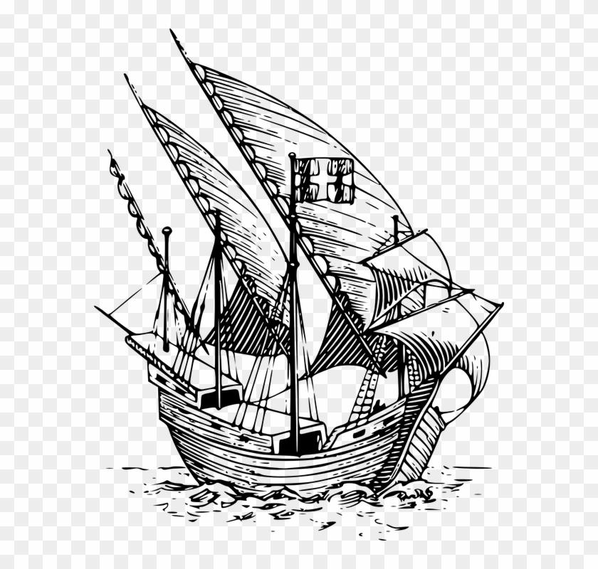 Explorer clipart sailing ship. Boat flagship navy ocean