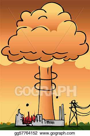 Vector illustration power plant. Explosion clipart nuclear disaster