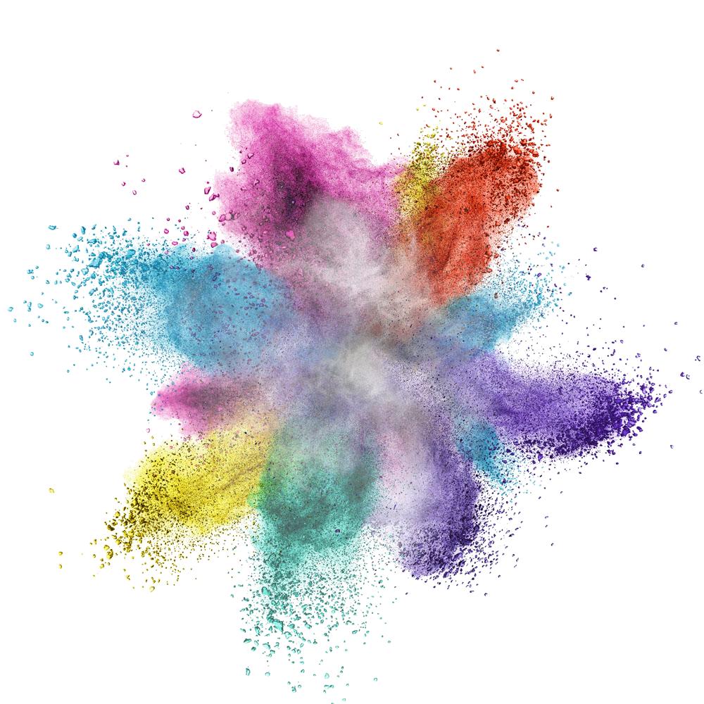 Colorful powder png image. Explosion clipart paint