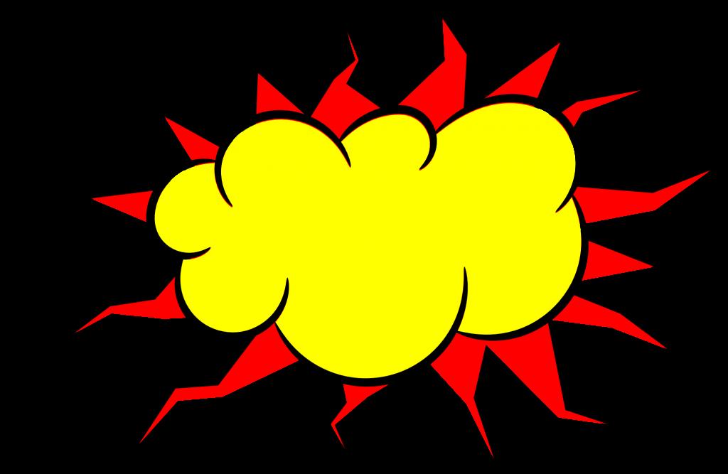 comic explosion bubble. Pop clipart cartoon balloon