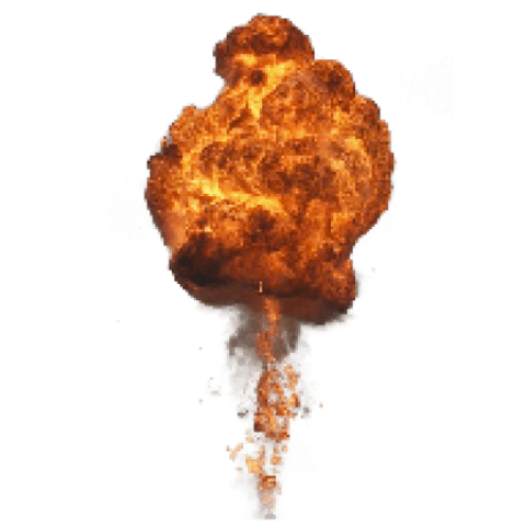 Explosion smoke png. Big with fire and