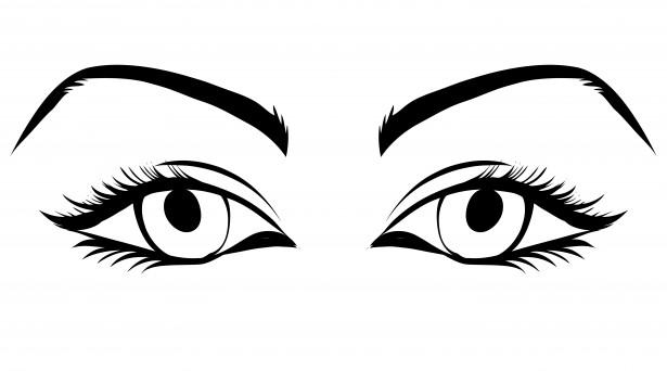 Eyes black and white. Girl clipart eye