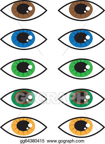 Eyeball clipart eye colour. Vector colors illustration gg