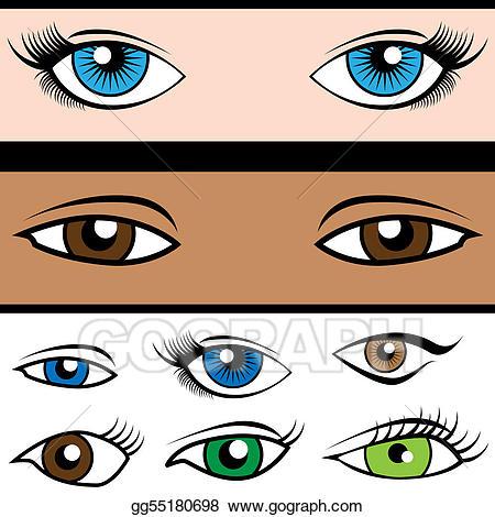 Eyeballs clipart eye shape. Vector set illustration