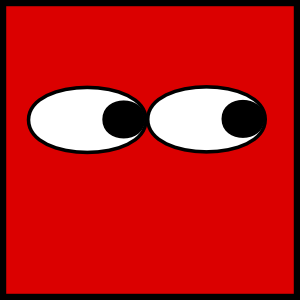 Red eyes looking right. Eyeball clipart square eye
