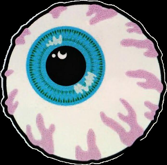 Stickers eyes blue vintage. Eyeball clipart vein