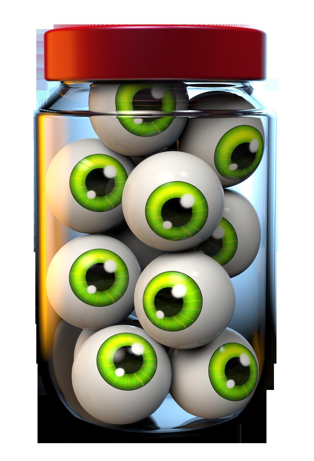 Halloween jar of eyeballs. Eye clipart food