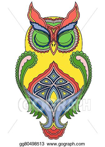 Eps vector big owl. Eyeballs clipart colourful