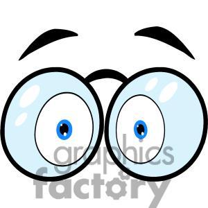 Eyes with glasses cartoon. Eyeballs clipart glass