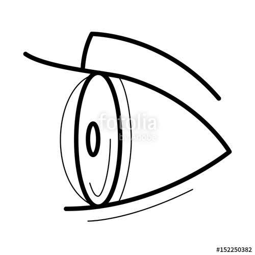 Eye with contact lens. Eyeballs clipart side view