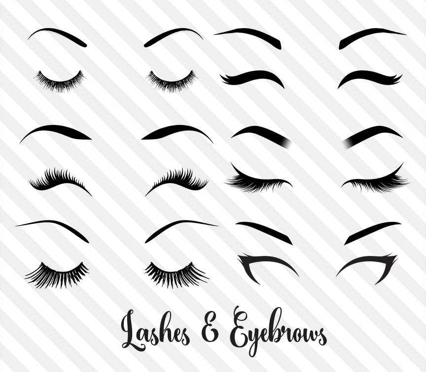 Eyebrow clipart. Lashes and eyebrows