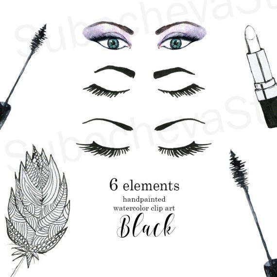 Woman beauty graphics makeup. Eyelashes clipart digital art