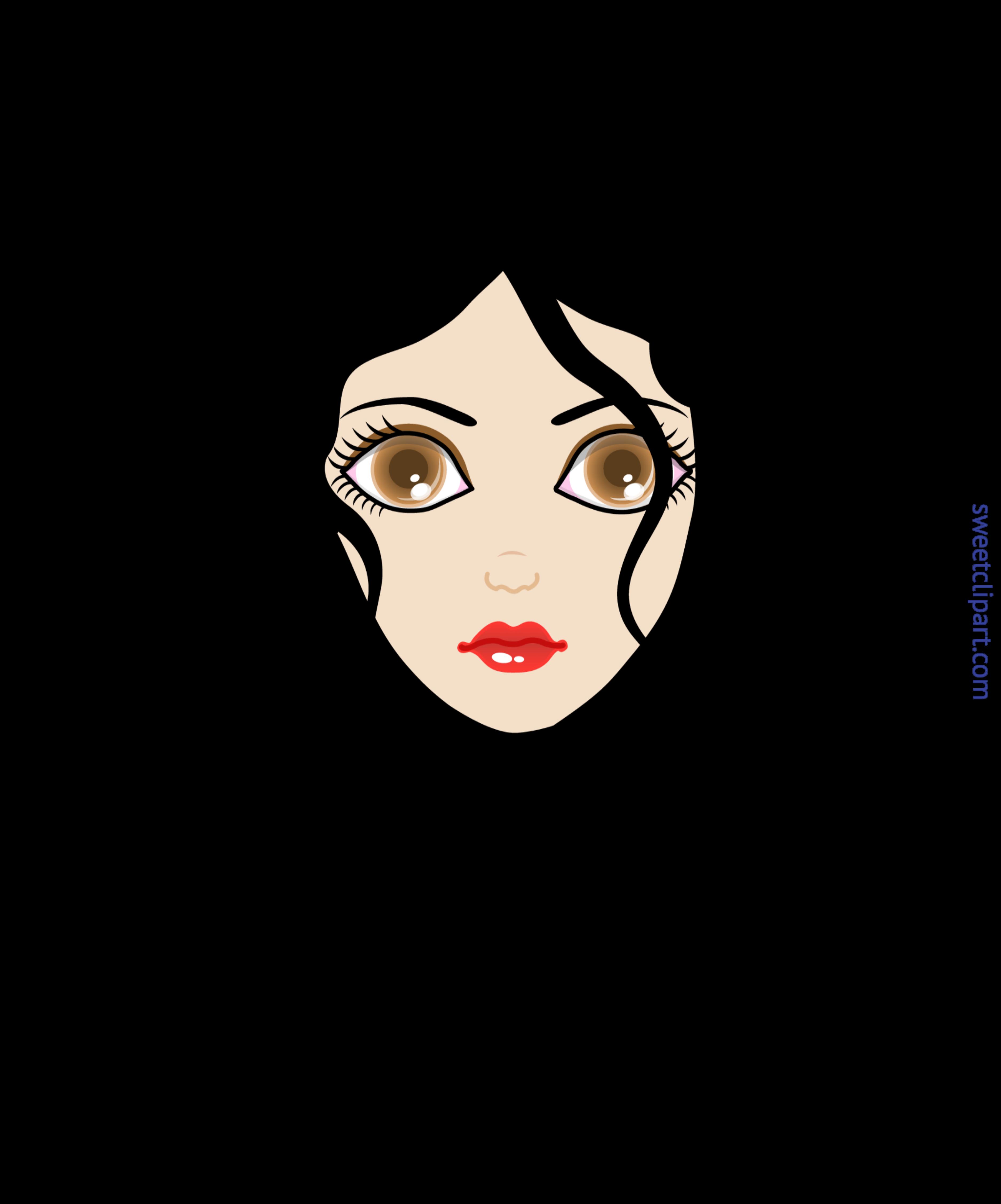 Girl curly black hair. Eyebrow clipart drawing