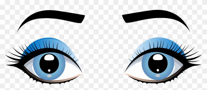 Blue female eyes with. Eyebrow clipart eyelid