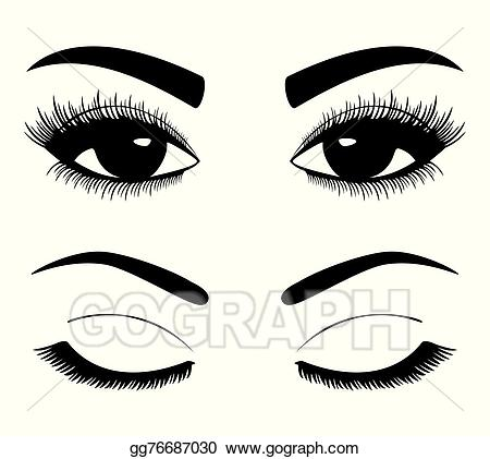 Eyebrow clipart eys. Vector illustration silhouettes of