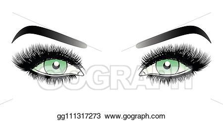 Eyebrow clipart false eyelash. Vector art green woman