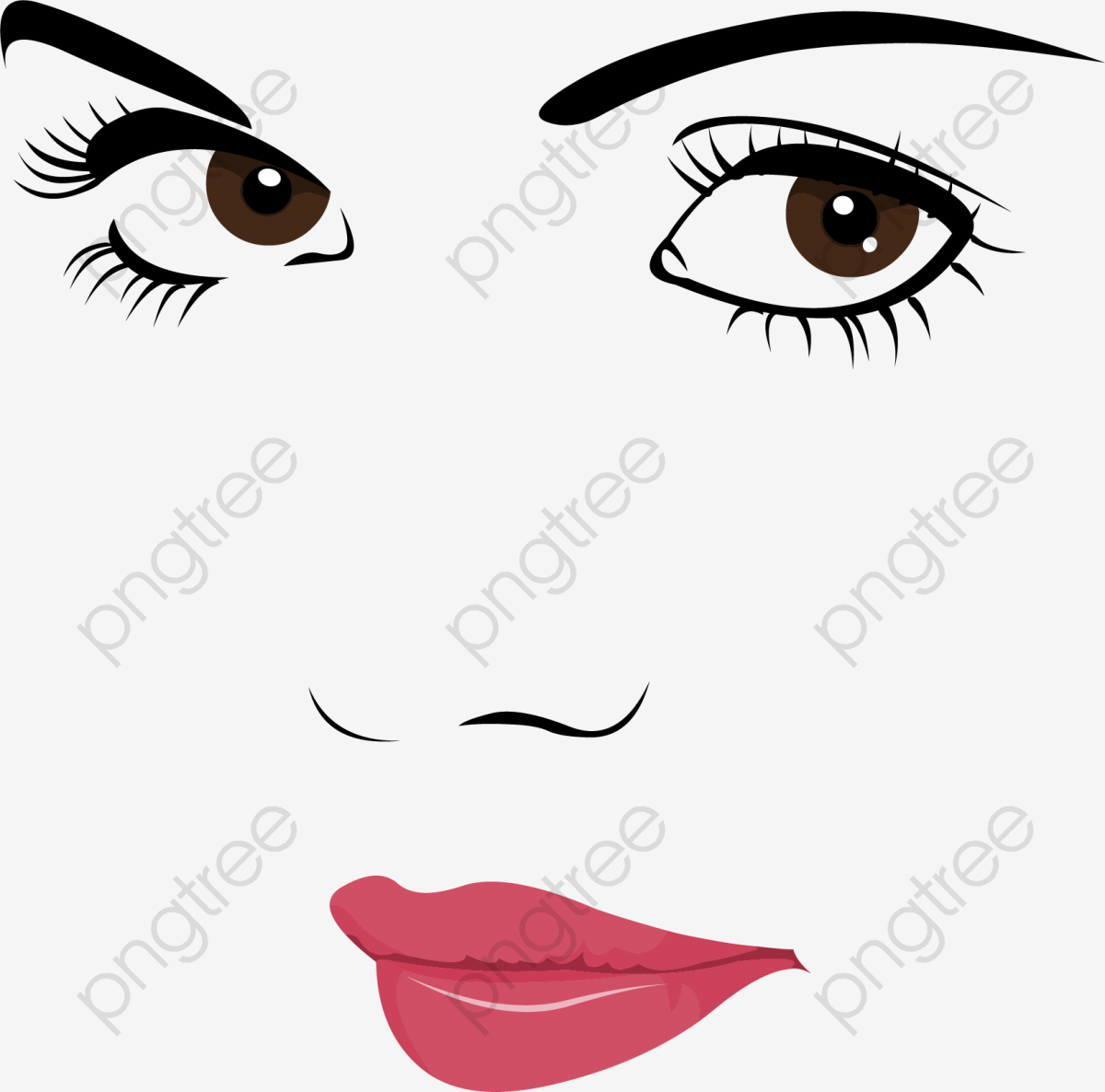 Hand painted characters facial. Eyebrow clipart mouth