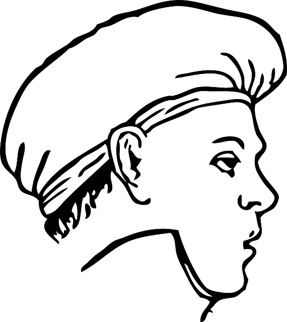 Clothing cap cook kitchen. Eyebrow clipart outline